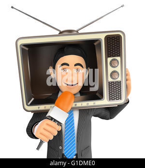 3d business people illustration. Reporter with a vintage television in the head and microphone. Isolated white background. - Stock Photo