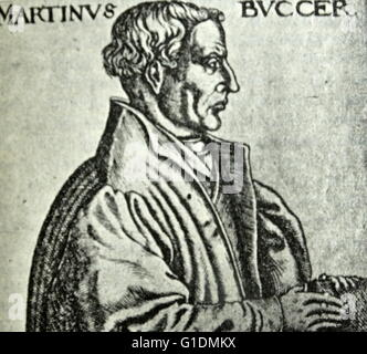 Portrait of Martin Bucer (1491-1551) a German Protestant reformer. Dated 16th Century - Stock Photo