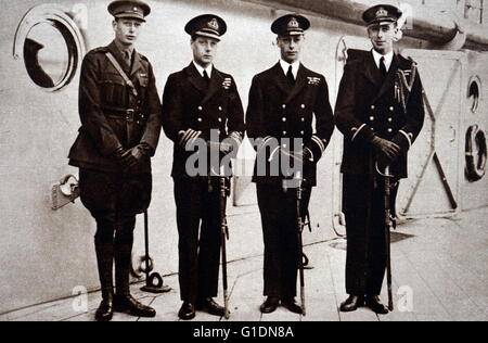 Photograph of Edward, Prince of Wales (1894-1972) leaving to visit Australasia. Also pictured is Prince Albert Frederick - Stock Photo