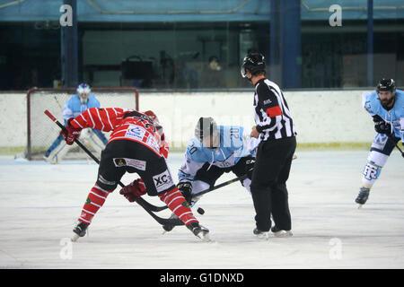 Ice Hockey match.  Mont-Blanc vs Tours.  Face-off. Saint-Gervais-les-Bains. France. - Stock Photo