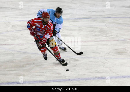 Ice Hockey match.  Mont-Blanc vs Tours.  Saint-Gervais-les-Bains. France. - Stock Photo