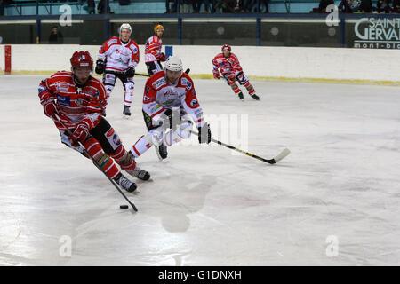 Ice Hockey match.  Mont-Blanc vs La Roche-sur-Yon.  Saint-Gervais-les-Bains. France. - Stock Photo