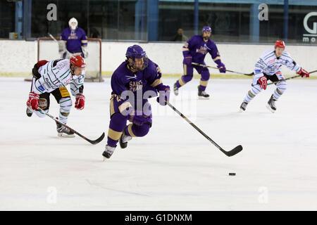 Ice Hockey match.  Mont-Blanc vs St. Michaels. Saint-Gervais-les-Bains. France. - Stock Photo