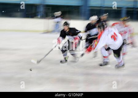 Ice Hockey match.  Mont-Blanc vs Amiens.  Saint-Gervais-les-Bains. France. - Stock Photo