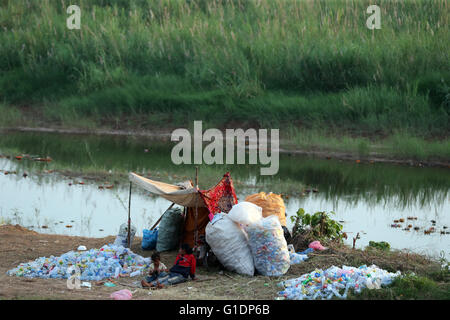Garbage. Empty water bottles. Vientiane. Laos. - Stock Photo