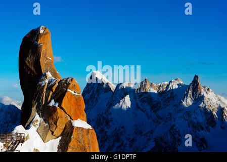 Europe, France, Haute Savoie, Rhone Alps, Chamonix, rock formation on Cosmique arete and Grandes Jorasses (4208m) - Stock Photo