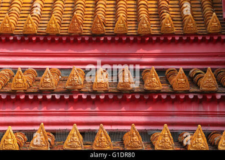Wat Benchamabophit (Marble Temple).  Detail of roof top.  Bangkok.Thailand. - Stock Photo
