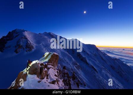 Europe, France, Haute Savoie, Rhone Alps, Chamonix, Mont Blanc, Mont Blanc, mountain rescue on Cosmique arete - Stock Photo