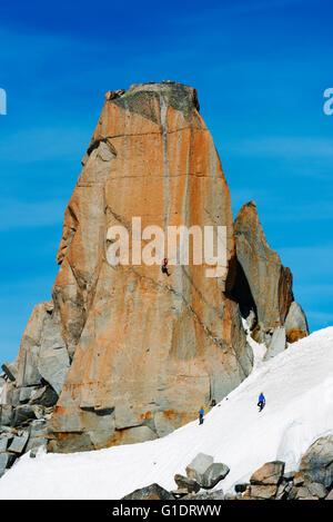 Europe, France, Haute Savoie, Rhone Alps, Chamonix, Aiguille du Midi, rock climbing Digital Crack on Cosmique Arete - Stock Photo