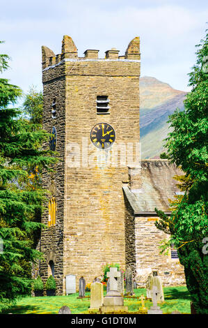Jesus Church at Troutbeck in the Lake District with the peak of Ill Bell behind - Stock Photo