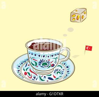 Vector illustration of turkish coffee and traditional turkish delight with turkish flag - Stock Photo