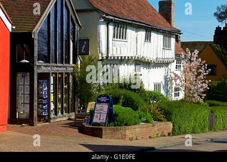 Tourist Information Centre and half-timbered house in the village of Lavenham, Suffolk, England UK - Stock Photo