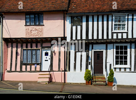 Half-timbered houses in High Street, in the village of Lavenham, Suffolk, England UK - Stock Photo