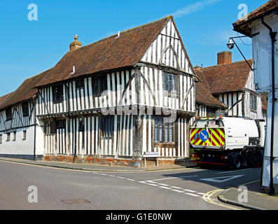 Street-sweeping vehicle in the village of Lavenham, Suffolk, England UK - Stock Photo