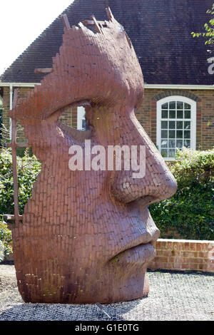 Bulk Head by Rick Kirby Sculpture outside The New Marlowe Theatre Canterbury England - Stock Photo