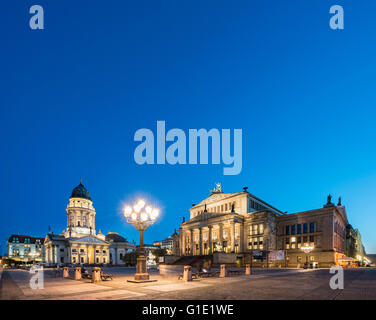 View of Gendarmenmarkt square in the evening in Mitte Berlin Germany - Stock Photo