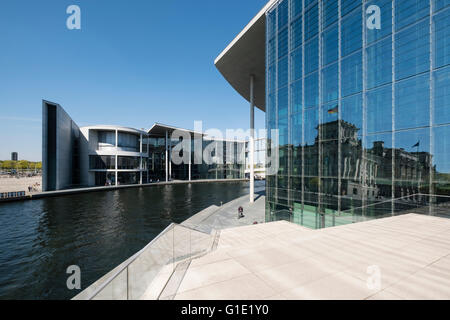 View of Paul Lobe Haus and Marie Elisabeth Luders ( Lueders) Haus government buildings beside River Spree in Berlin - Stock Photo