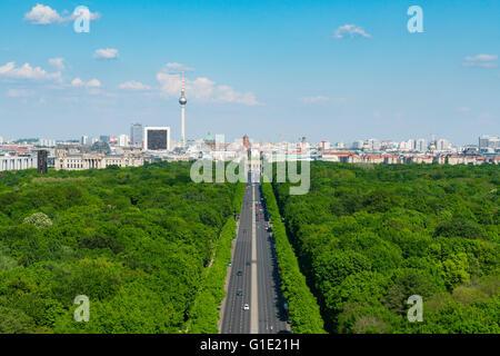 Skyline of Berlin and Tiergarten park towards Brandenburg Gate in Germany - Stock Photo