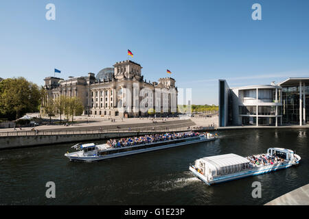 View of the Reichstag Parliament building in Berlin Germany - Stock Photo