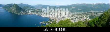 Panorama of the Gulf of Lugano from Mount Bre above the City - Stock Photo