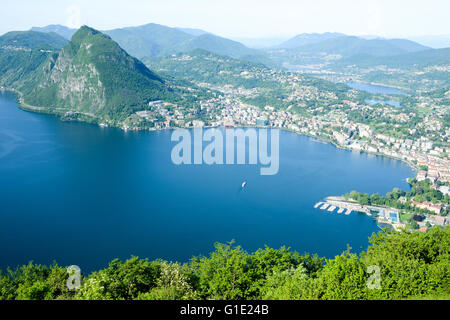 The bay of Lugano from Mount Bre above the City - Stock Photo
