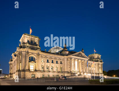 Evening view of the Reichstag Parliament building in Berlin Germany - Stock Photo
