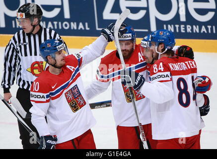 MOSCOW, RUSSIA. MAY 13, 2016. Czech Republic's players celebrate scoring in the 2016 IIHF World Championship Preliminary - Stock Photo