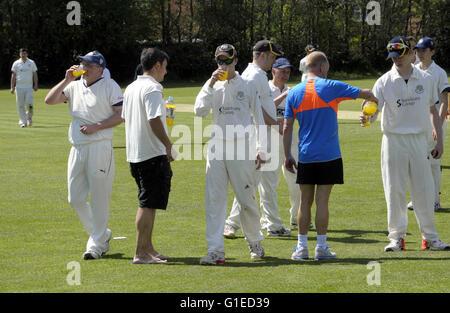 Tenbury Wells, Worcestershire, UK. 14th May, 2016. UK Weather. Tenbury Wells and Old Elizabethans cricketers have - Stock Photo