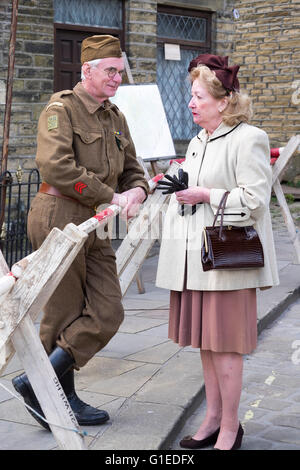 Haworth, Yorkshire, UK. 14th May, 2016. The village of haworth, west yorkshire, is transformed for the annual 1940's - Stock Photo
