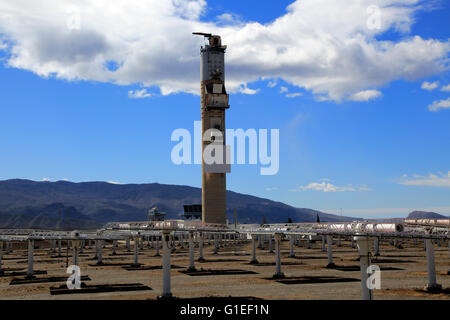 Heliostats and central receiver CESA-1 Tower at solar energy scientific research centre, Tabernas, Almeria, Spain - Stock Photo