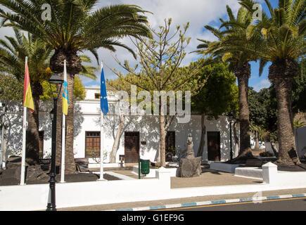 Ayuntamiento town hall building in Yaiza, Lanzarote, Canary Islands, Spain - Stock Photo