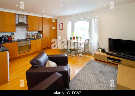 Belsize Lane, Hampstead. Open plan living room with kitchen and dining table. - Stock Photo