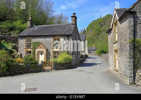Milldale village, Dovedale Peak District National Park, Staffordshire, England, UK - Stock Photo