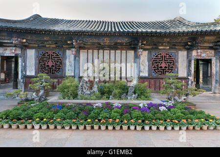 Interior courtyard, Zhu Weiqing house, Jianshui Ancient Town, Yunnan Province, China - Stock Photo