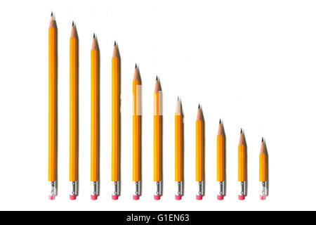 A line of yellow pencils going from tall to short photographed against a white background. - Stock Photo