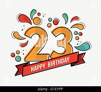 Happy birthday number 23, greeting card for eleven year in modern flat line art with colorful geometric shapes. - Stock Photo