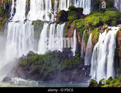 Iguasu Falls, the largest series of waterfalls of the world, located at the Brazilian and Argentinian border View - Stock Photo