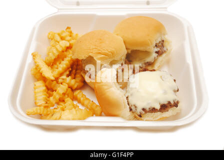 Cheeseburger Sliders with Fries in a Takeout Container - Stock Photo