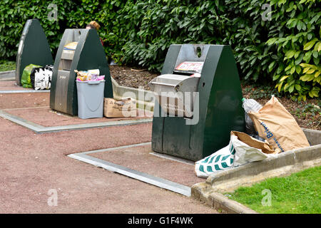 Waist and recycling containers in France - Stock Photo