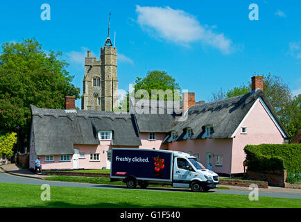 Tesco delivery van in the village of Cavendish, Suffolk, England UK - Stock Photo
