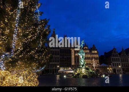 Grote Markt in Antwerp in Belgium during Christmas - Stock Photo
