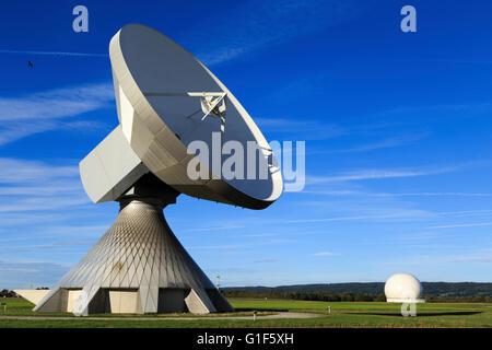 an earth station in Raisting Bavaria Germany - Stock Photo