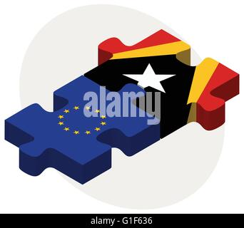 Vector Image - European Union and East Timor Flags in puzzle isolated on white background - Stock Photo
