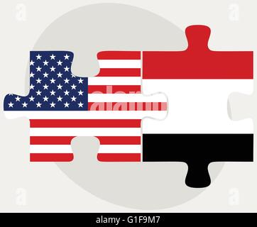 Vector Image - USA and Yemen Flags in puzzle  isolated on white background - Stock Photo