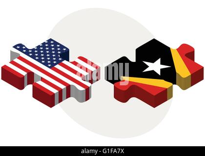 Vector Image - USA and Timor-Leste Flags in puzzle  isolated on white background - Stock Photo