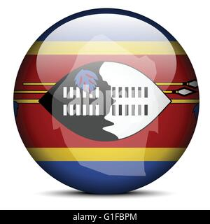 Vector Image -  Map on flag button of Kingdom of Swaziland - Stock Photo