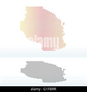 Map of United Republic of Tanzania with Dot Pattern - Stock Photo
