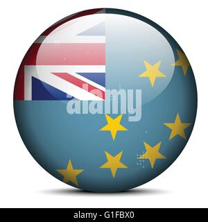 Vector Image -  Map with Dot Pattern on flag button of Tuvalu - Stock Photo