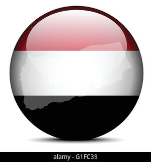 Vector Image -  Map on flag button of Republic of Yemen - Stock Photo