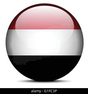 Vector Image -  Map with Dot Pattern on flag button of Republic of Yemen - Stock Photo